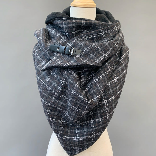 ADULT triangle cowl wrap scarf - charcoal plaid wool