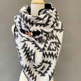 ADULT triangle cowl wrap scarf - Black and white heavyweight jacquard
