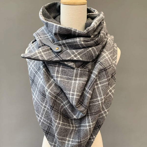 ADULT triangle cowl wrap scarf - grey on grey plaid