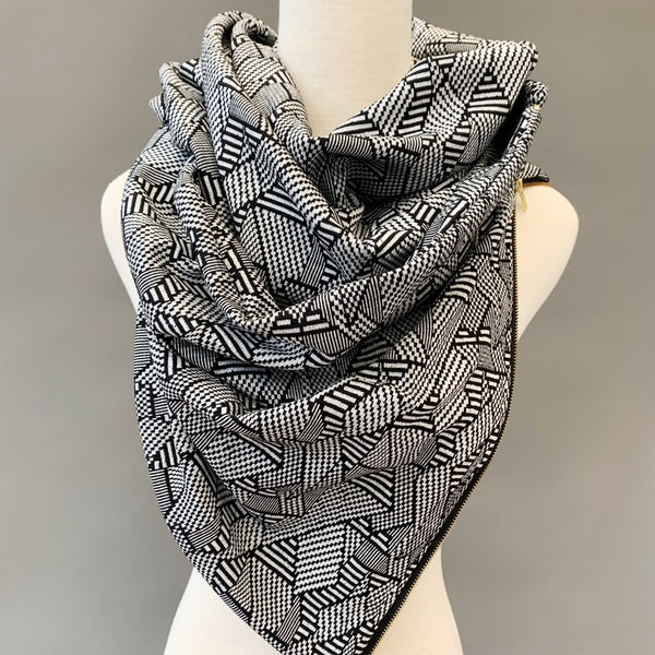 ADULT Zipper cowl wrap scarf - black and white geo jacquard