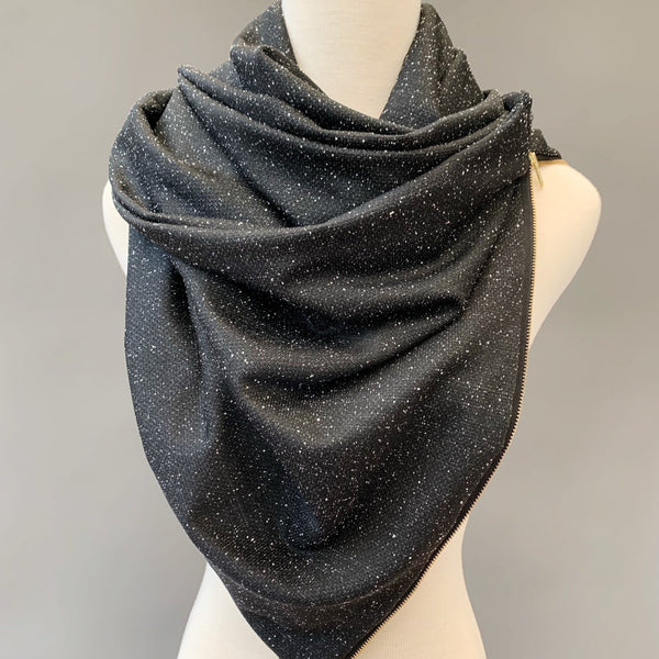 ADULT Zipper cowl wrap scarf - black starry night