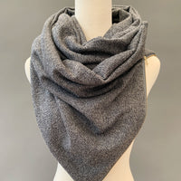 ADULT Zipper cowl wrap scarf - dark grey sweater knit