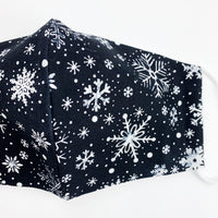 "CHILD ""EarLoop"" cotton face mask- chalkboard snowflakes"