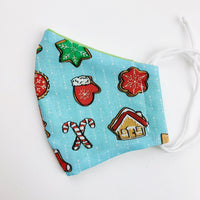 "SMALL CHILD ""EarLoop"" cotton face mask- christmas treats"