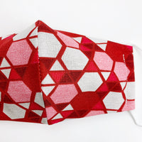"ADULT ""Ear Loop"" cotton face mask- red glass mosaic"