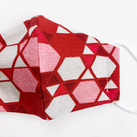 "CHILD ""EarLoop"" cotton face mask- red glass mosaic"