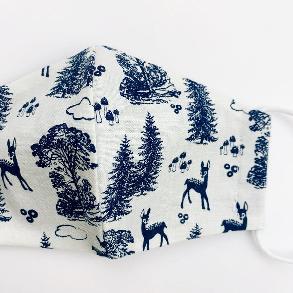 SMALL CHILD cotton face mask- vintage navy deer