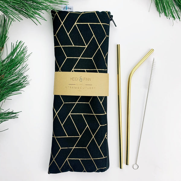 LUXE ReUsable Straw and Cutlery Bag SET- Black gold geo