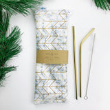 LUXE ReUsable Straw and Cutlery Bag SET- White marble gold geo