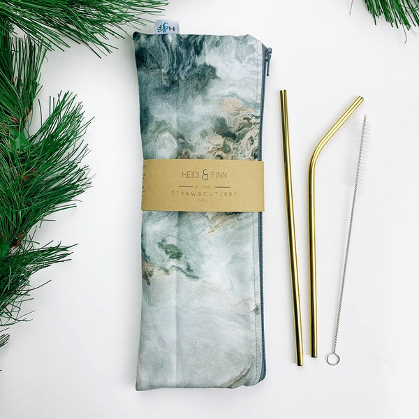 LUXE ReUsable Straw and Cutlery Bag SET- Grey marble