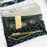 LUXE ReUsable Straw and Cutlery Bag SET- Black Gold brushstroke