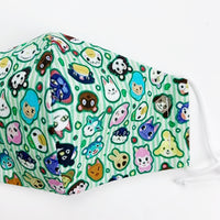 "SMALL CHILD ""EarLoop"" cotton face mask- animal crossing"