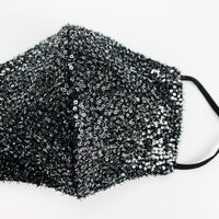 "ADULT ""Ear Loop"" cotton face mask- LUXE black silver mini sequin"