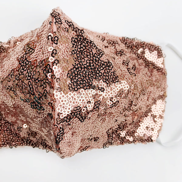 "ADULT ""Ear Loop"" cotton face mask- LUXE rose gold sequin"