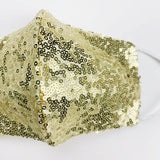 "ADULT ""Ear Loop"" cotton face mask- LUXE gold sequin"