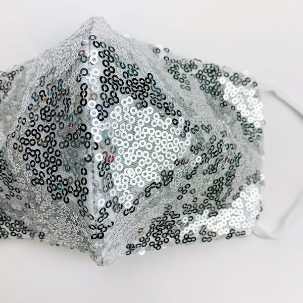 "ADULT ""Ear Loop"" cotton face mask- LUXE silver sequin"