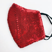 "ADULT ""Ear Loop"" cotton face mask- LUXE ruby sequin"