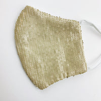 "ADULT ""Ear Loop"" cotton face mask- LUXE champagne sequin"