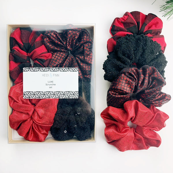 Luxe Scrunchie gift box set - Red and Black