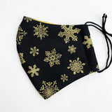 "CHILD ""EarLoop"" cotton face mask- gold metallic snowflakes"