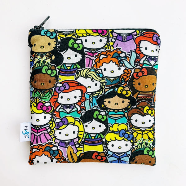 MEDIUM 'square' ReUsable Snack Bag - hello kitty x disney princess
