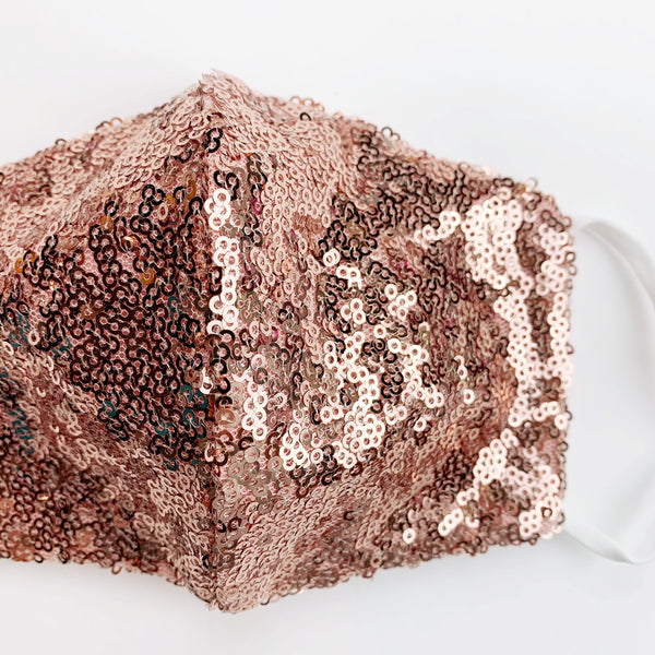 "CHILD ""EarLoop"" cotton face mask- LUXE rose gold sequin"
