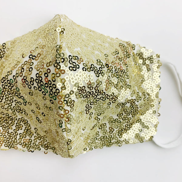 "CHILD ""EarLoop"" cotton face mask- LUXE  gold sequin"