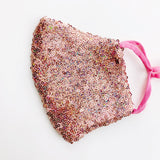 "CHILD ""EarLoop"" cotton face mask- LUXE pink holographic sequin"