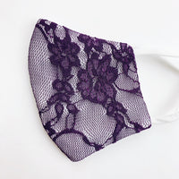 "SMALL CHILD ""EarLoop"" cotton face mask- LUXE  purple lace"