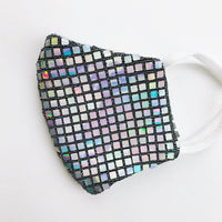 "SMALL CHILD ""EarLoop"" cotton face mask- LUXE disco ball"