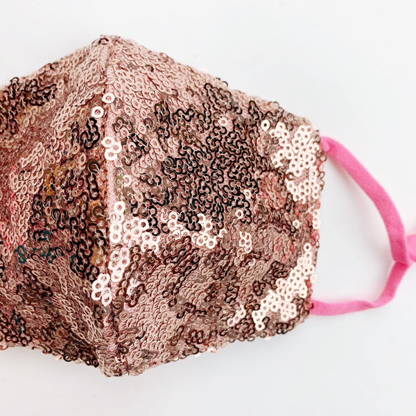 "SMALL CHILD ""EarLoop"" cotton face mask- LUXE rose gold sequin"