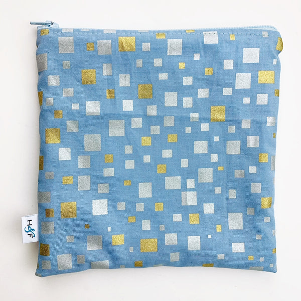 LARGE ReUsable Snack Bag - gold silver cubes on blue
