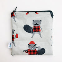 MEDIUM 'square' ReUsable Snack Bag - lumberjack beaver