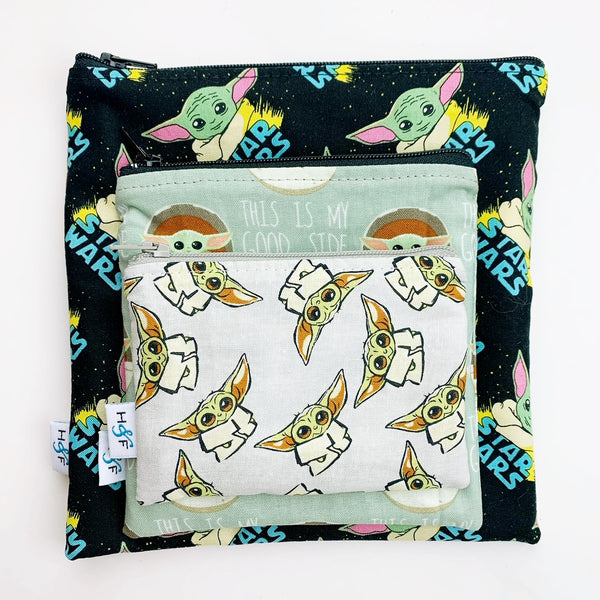 ReUsable Snack Bag SET - Baby Yoda star wars the child