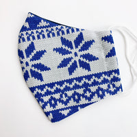 "ADULT ""Ear Loop"" cotton face mask- sweater weather blue"