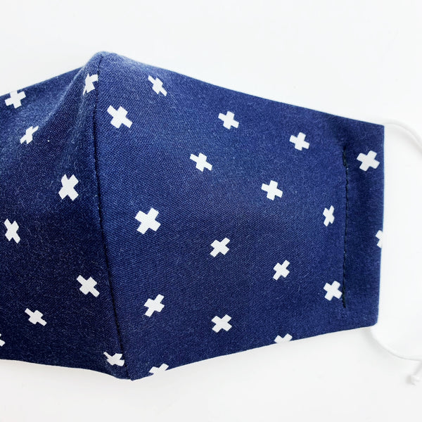 ADULT  cotton face mask- Navy white cross