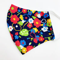 ADULT  cotton face mask- Navy red yellow floral