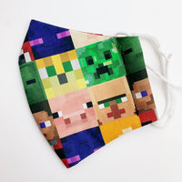 CHILD cotton face mask- Minecraft squares
