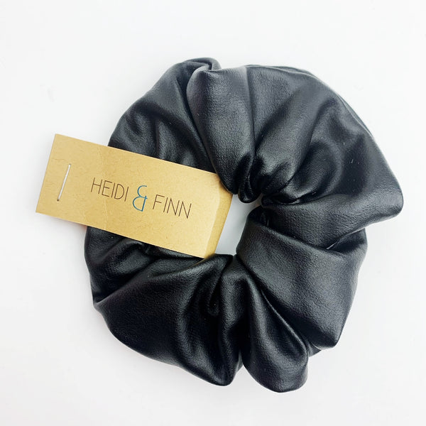 Leather (vegan) Scrunchie - black matte