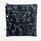 LARGE ReUsable Snack Bag - black and white farm animals