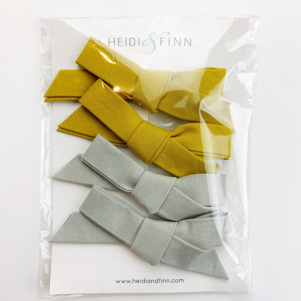 Hair clip sets hairbow - mustard and grey
