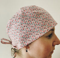 Scrub hat surgical cap -pink gold dash