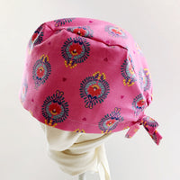 Scrub hat surgical cap -pink hearts flowers