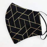 "ADULT ""Ear Loop"" cotton face mask- black and gold geo"