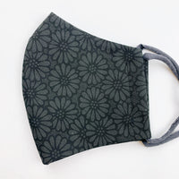 "ADULT ""Ear Loop"" cotton face mask- black and grey flower"