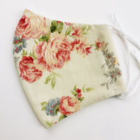 "ADULT ""Ear Loop"" cotton face mask- Vintage floral ivory"