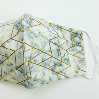 "ADULT ""Ear Loop"" cotton face mask- marble and gold geo"