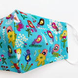 "CHILD ""EarLoop"" cotton face mask- aqua birds"