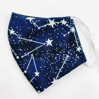 "SMALL CHILD ""EarLoop"" cotton face mask- stars glow in the dark"