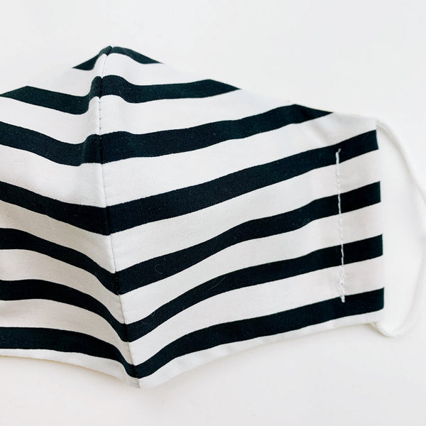 "CHILD ""EarLoop"" cotton face mask- black and white stripe med"